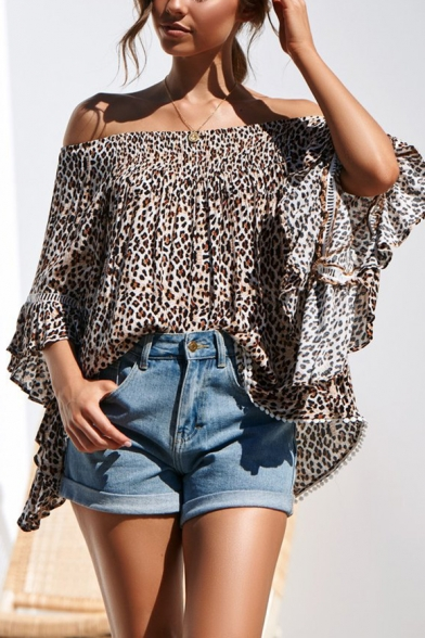 Womens Classic Fashion Leopard Printed Off the Shoulder Flared Sleeve Khaki Blouse