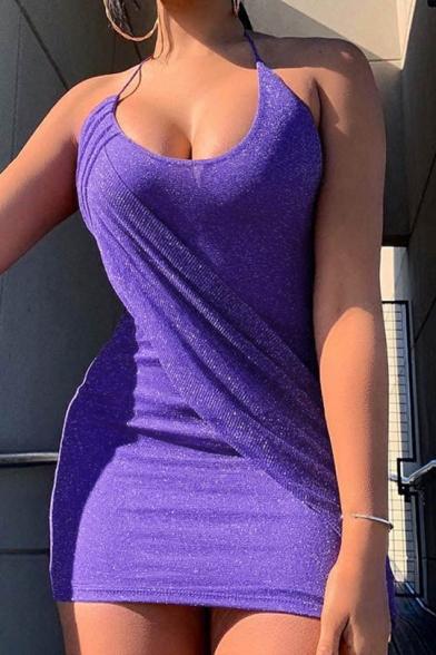 Womens Sexy Halter Scoop Neck Sleeveless Silk Plain Mini Bodycon Club Dress