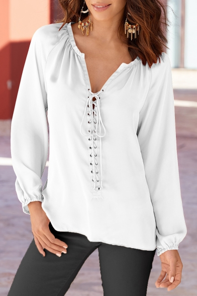 Womens Simple Plain Fashion Lace-Up Tied V-Neck Long Sleeve Casual Chiffon Blouse Top