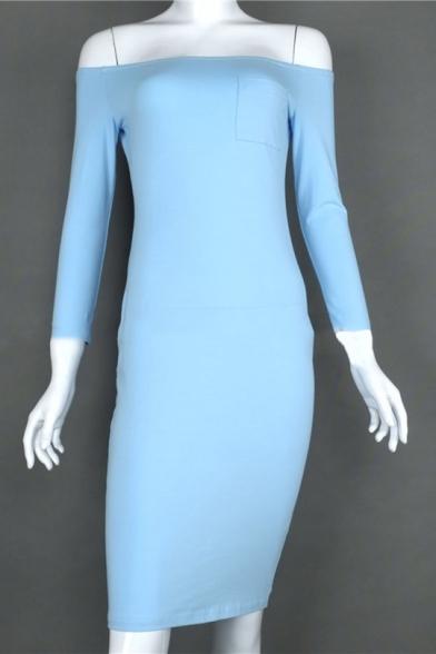 Womens Summer New Stylish Simple Plain Sexy Off the Shoulder Three-Quarter Sleeve Midi Sheath Dress