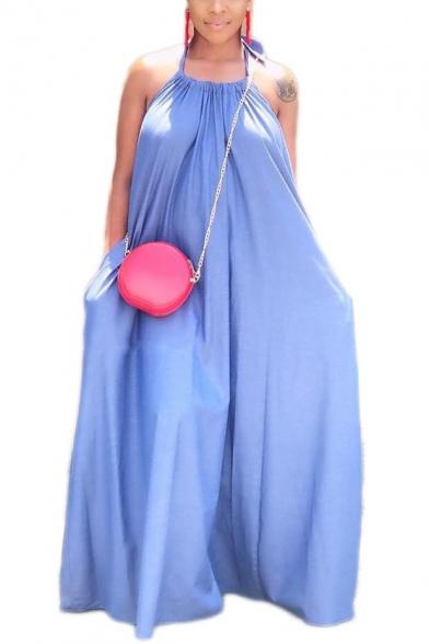 Basic Simple Plain Halter Neck Sleeveless Backless Midi Slip Dress for Women