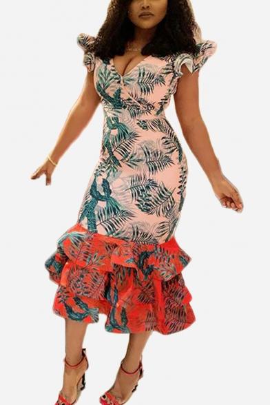 Colorblock V Neck Cap Sleeve Leaf Print Midi Ruffle Hem Bodycon Dress
