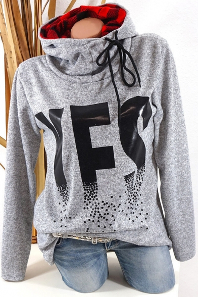 Baycheer / Cool Unique Letter YES Printed Funnel Neck Long Sleeve Plaid Patched Casual Hoodie