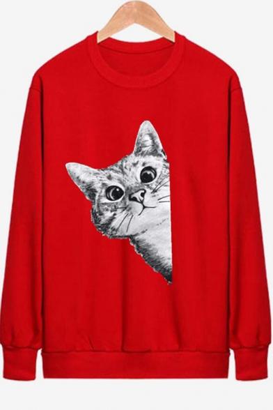 Cute Cartoon Cat Printed Round Neck Long Sleeve Unisex Sweatshirt