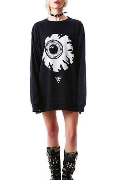 Fashion Big Eye Printed Round Neck Long Sleeve Black Casual Loose Tunic Sweatshirt