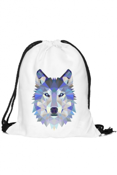 Fashion Creative 3D Wolf Printed White Drawstring Backpack Storage Bag 30*39 CM