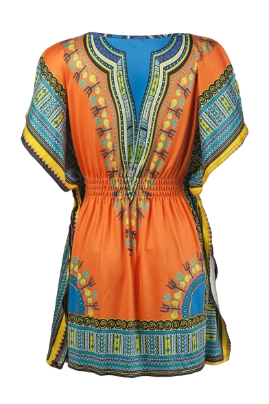 Fashion Ethnic Style Tribal Printed V-Neck Yellow Mini A-Line Dress