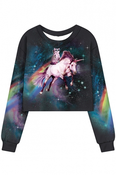 Fashion Rainbow Cat Unicorn Galaxy Printed Round Neck Long Sleeve Cropped Sweatshirt