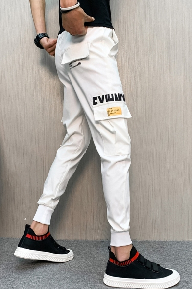 Guys New Fashion Simple Letter Printed Drawstring Waist Cotton Slim Fit Cargo Pants