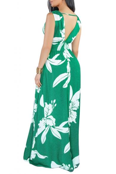 Hot Fashion Plunge Neck Sleeveless Floral Printed V-Back Maxi Swing Dress