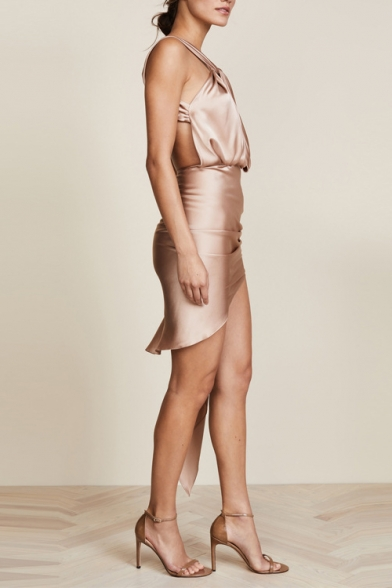 Hot Fashion V Neck Sleeveless Plain Cut Out Open Back Stretch Ruffle Asymmetric Dress