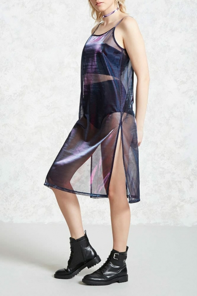Hot Popular Sheer Purple Sexy Split Side Midi Casual Loose Slip Dress