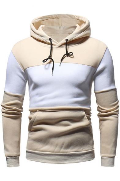 Men's Trendy Colorblock Raglan Long Sleeve Slim Fit Drawstring Hoodie