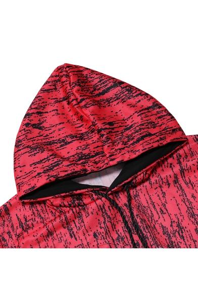 Mens Colorblock Camouflage Printed Long Sleeve Slim Fit Drawstring Hoodie