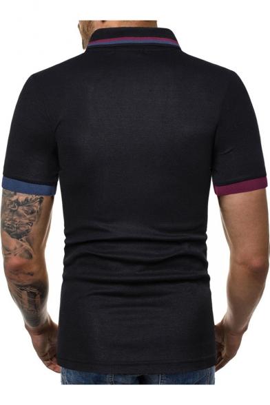 2df7a815f0 New Fashion Men's Plain Three-Button Contrast Trim Lapel Collar Short