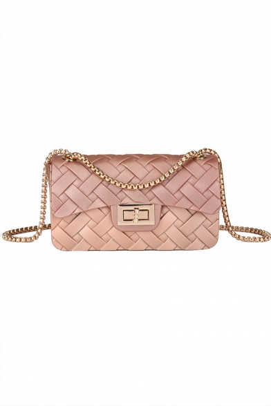 New Stylish Plain Woven Crossbody Clutch Bag for Ladies 18*7*10 CM