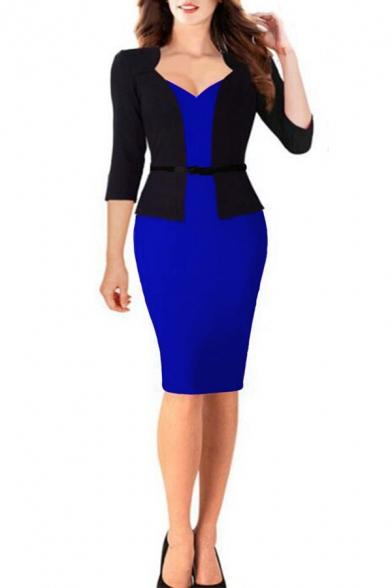 New Trendy Sexy V-Neck Three-Quarter Sleeve Fake Two-Piece Office Lady Midi Pencil Dress