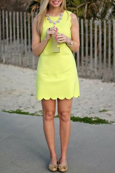 Summer Basic Simple Plain Chic Scalloped Hem Round Neck Sleeveless Mini Shift Tank Dress