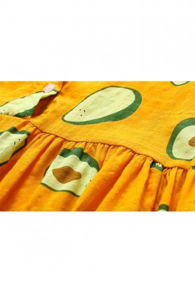 Summer Cute Allover Avocado Pattern Short Sleeve Button Front Mini Casual Shirt Dress for Girls