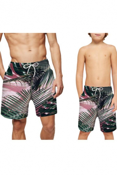 Summer New Stylish Tropical Leaf Print Casual Beach Swim Trunks Parent-Child Swim Shorts