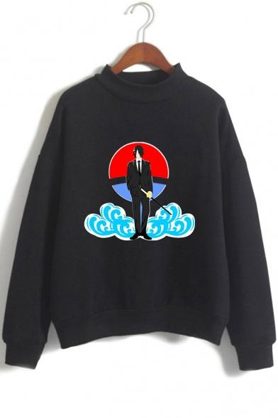 Trendy Comic Anime Comic Anime Character Cloud Printed Long Sleeve Mock Neck Pullover Sweatshirt