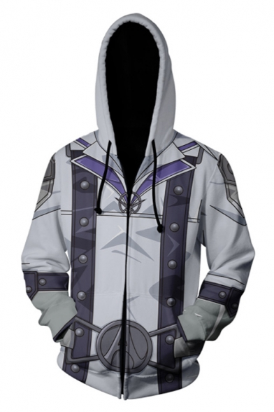 Trendy Grey and White 3D Colorblock Cosplay Costume Long Sleeve Sport Zip Up Hoodie