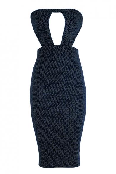 Women New Fashionable Glitter Sexy Cutout Front Strapless Midi Stratch Fit Bandeau Nightclub Dress