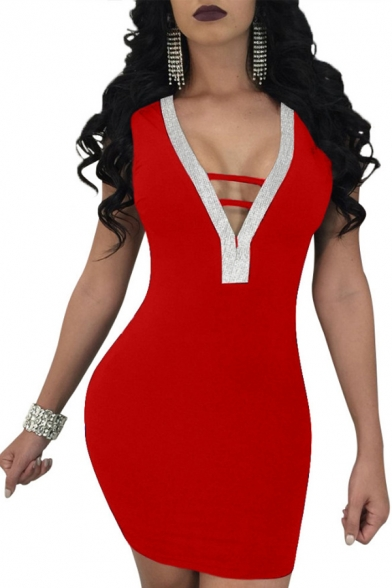 Women's Chic Sequined Patched Hollow Out V-Neck Sleeveless Mini Bodycon Nightclub Dress