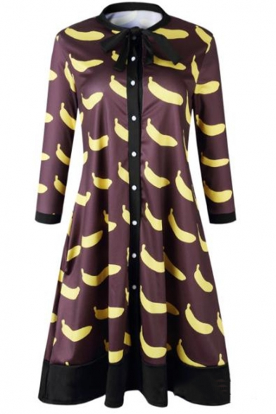 Women's Funny Banana Print Half Sleeve Bow Round Neck Button-Front Mini A-Line Brown Dress