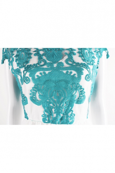 Women's New Elegant Floral Print Cap Sleeve Round Neck Lace Patch Midi Blue Fitted A-Line Dress