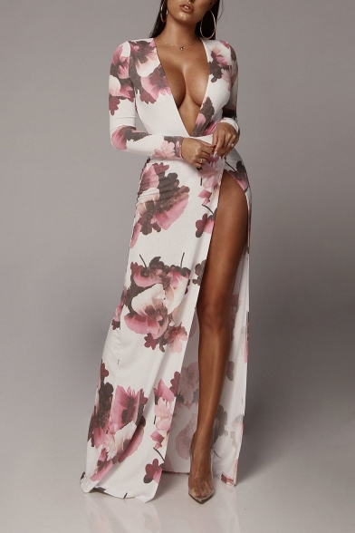 Women's New Fashion Plunge Neck Long Sleeve Floral Printed Split Side Bodycon Maxi Dress