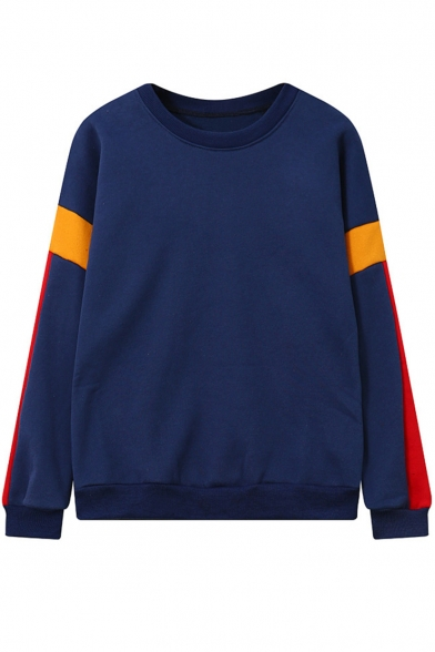 Womens New Trendy Colorblock Patchwork Long Sleeve Round Neck Dark Blue Sweatshirt