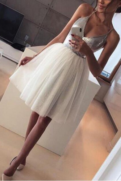 Womens New Trendy Silver Sequined Patched Top Sexy V-Neck Midi White Tulle Cami Dress
