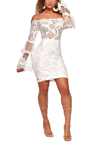 Womens Simple Plain Sexy Off the Shoulder Bell Long Sleeve Mini Bodycon Nightclub Dress