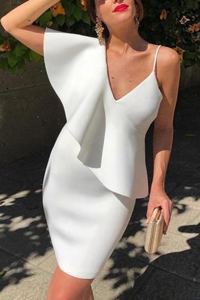 Womens Summer New Fashionable Simple Plain V-Neck Ruffled Hem Mini White Pencil Dress