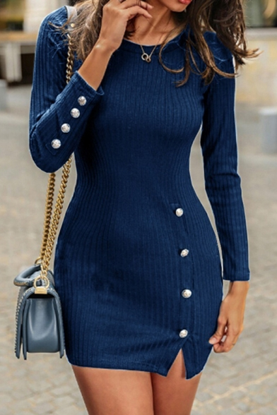 Basic Round Neck Long Sleeve Button Embellished Split Side Plain Mini Bodycon Knit Dress