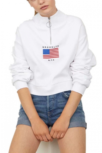 BROOKLYN NYC Letter Star Stripe Flag Printed Zipper Stand Collar Long Sleeve White Sweatshirt