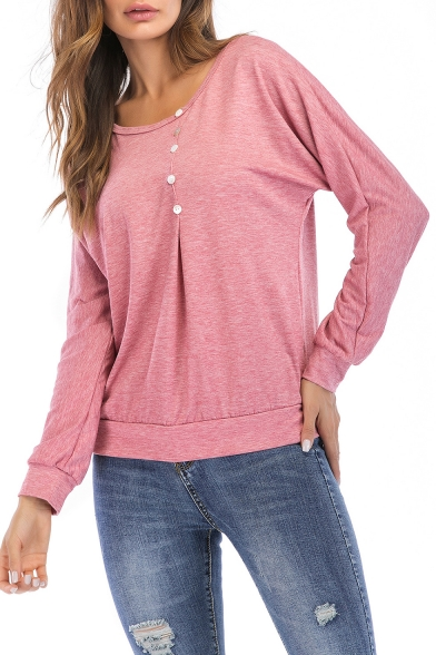 Chic Simple Button Embellished Round Neck Long Sleeve Plain Casual Sweatshirt
