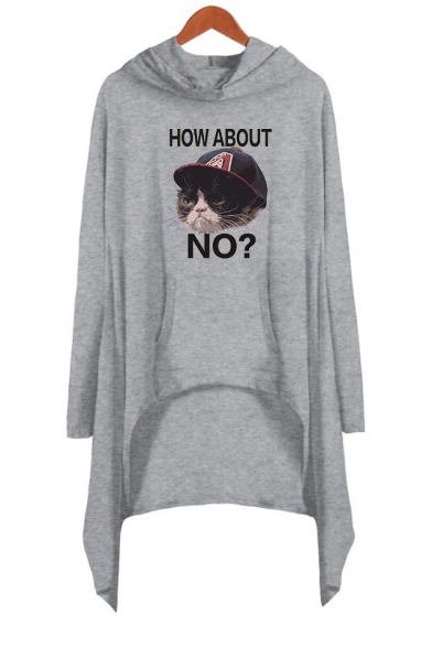 Cute Cartoon Letter HOW ABOUT NO Grumpy Cat Printed Long Sleeve Mini Asymmetrical Hooded Dress