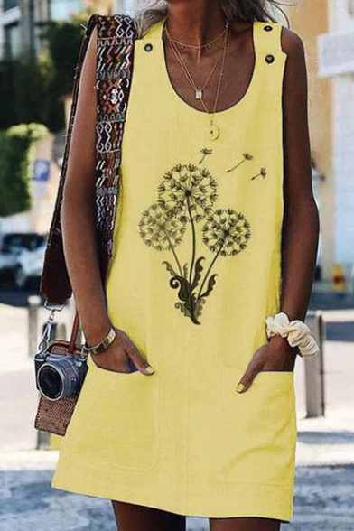Dandelion Printed Scoop Neck Button Embellished Sleeveless Mini Linen Swing Dress with Pocket