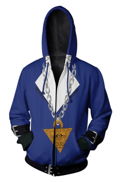 Fashion 3D Chain Pattern Cosplay Costume Long Sleeve Zip Front Blue Hoodie