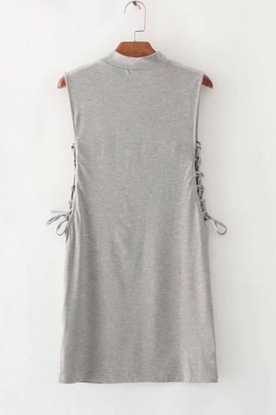 Fashion Simple Plain Mock Neck Sleeveless Hollow Out Lace-Up Side Mini Cotton Bodycon Dress