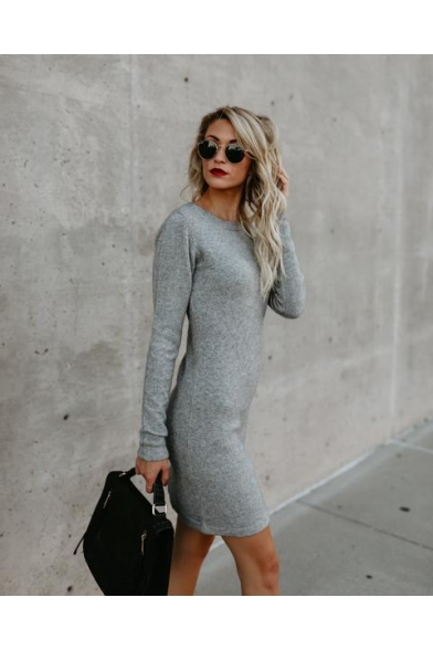 Fashion Simple Plain Round Neck Long Sleeve Lace-Up Tied Side Mini Sheath Dress