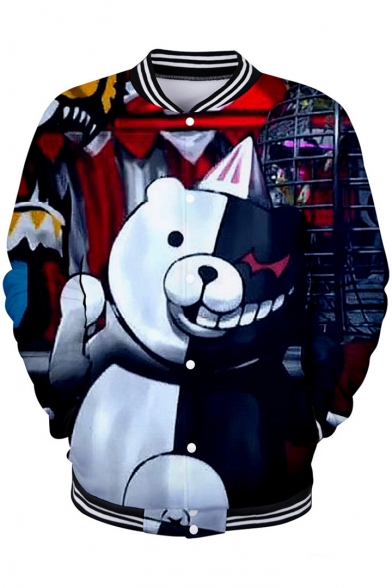 Funny Cartoon Comic Black and White Bear 3D Printed Rib Stand Collar Button Down Baseball Jacket