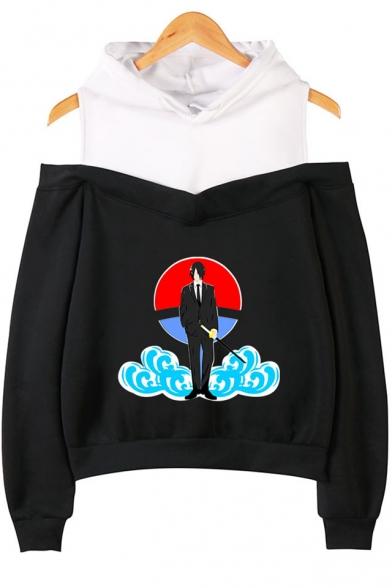 Hot Trendy Comic Anime Figure Cloud Printed Cold Shoulder Long Sleeve Casual Hoodie, LM529734, Black;pink;gray;navy