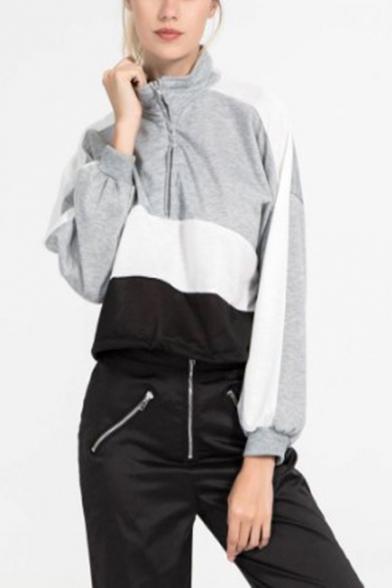 Hot Women's Colorblock Patchwork Half-Zip Front High Neck Long Sleeve Sweatshirt