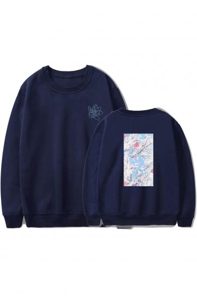 Men's Basic Long Sleeve Round Neck Floral Printed Casual Sweatshirt