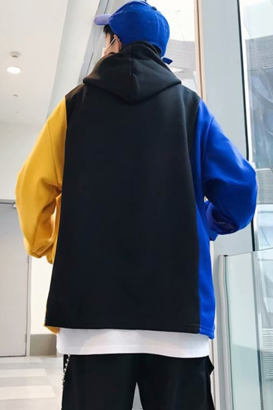Men's Hot Fashion Letter MOKO Logo Printed Colorblock Long Sleeve Drawstring Loose Hoodie