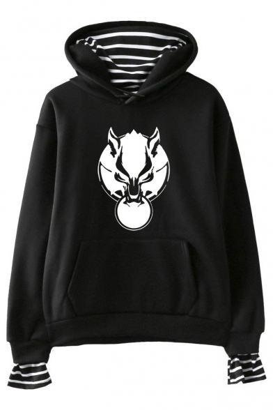 New Popular Wolf Head Printed Striped Fake Two-Piece Loose Casual Hoodie, Black;pink;white;gray;navy, LM529754
