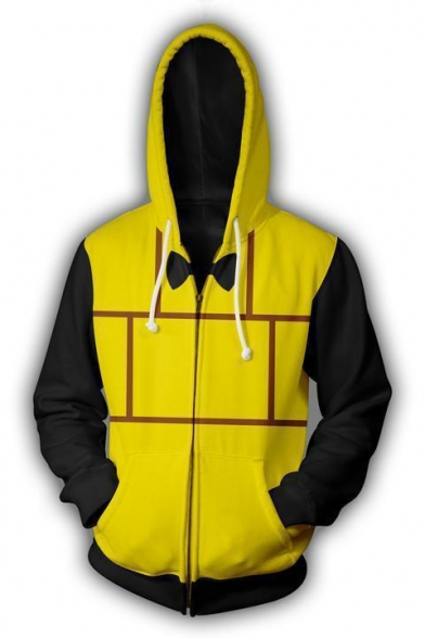 New Stylish Comic Cosplay Costume Yellow and Black Sport Loose Zip Up Hoodie